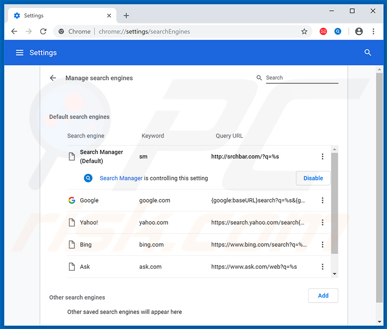 Removing quicklogin.io from Google Chrome default search engine