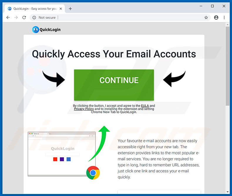 Website used to promote QuickLogin browser hijacker
