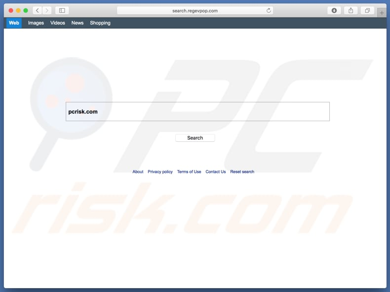 search.regevpop.com browser hijacker on a Mac computer