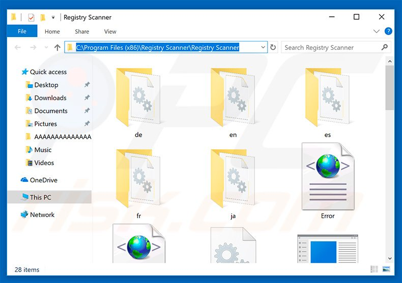 Files of Registry Scanner application