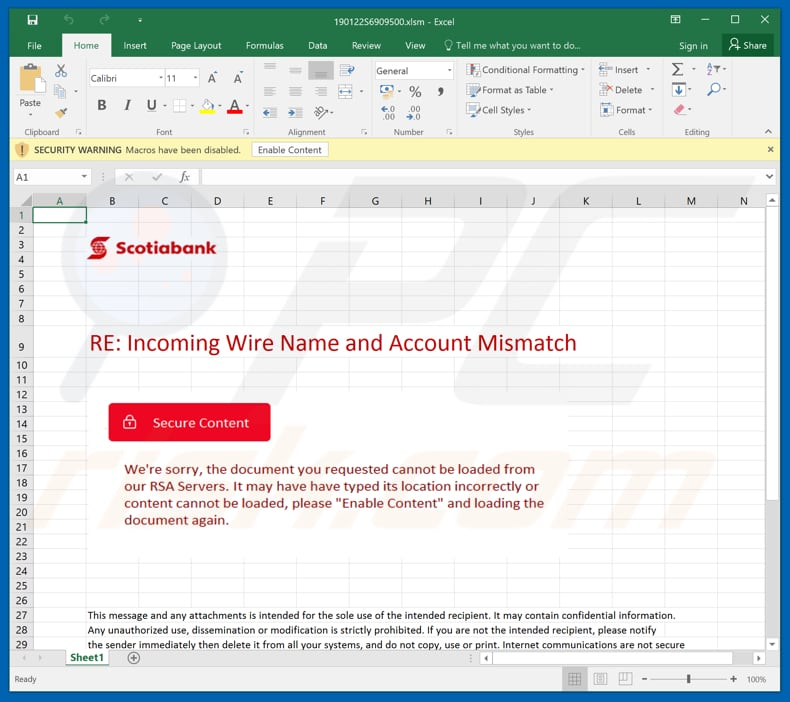 Malicious attachment distributed through Scotiabank Email Virus spam campaign
