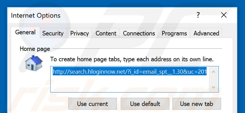Removing search.hloginnow.net from Internet Explorer homepage
