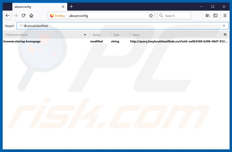 Removing search.hmylocalclassifieds.co from Mozilla Firefox default search engine