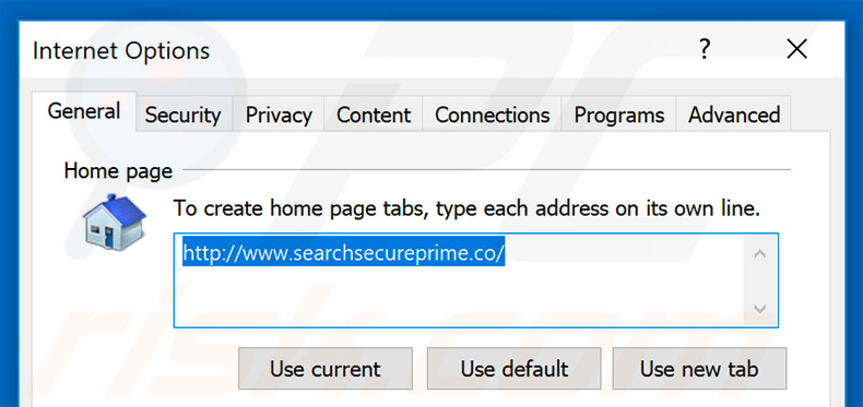 Removing searchsecureprime.co from Internet Explorer homepage