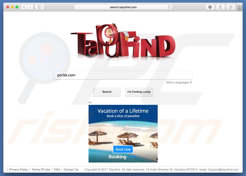 search.tapufind.com browser hijacker on a Mac computer
