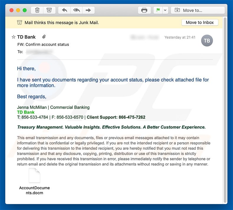 How to remove TD Bank Email Virus - virus removal
