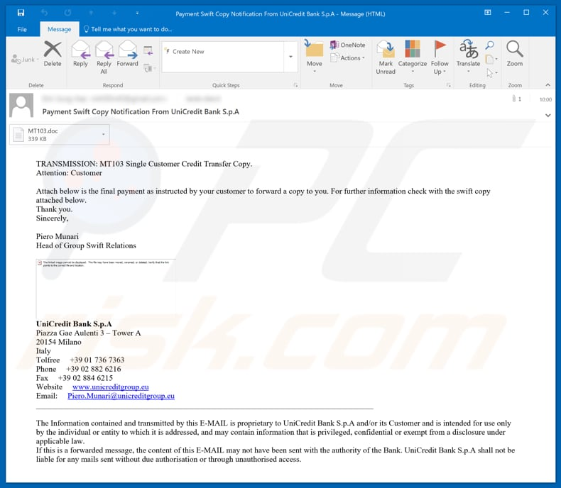 UniCredit Bank Email Virus