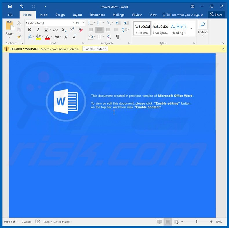 Ursnif trojan distributing word document