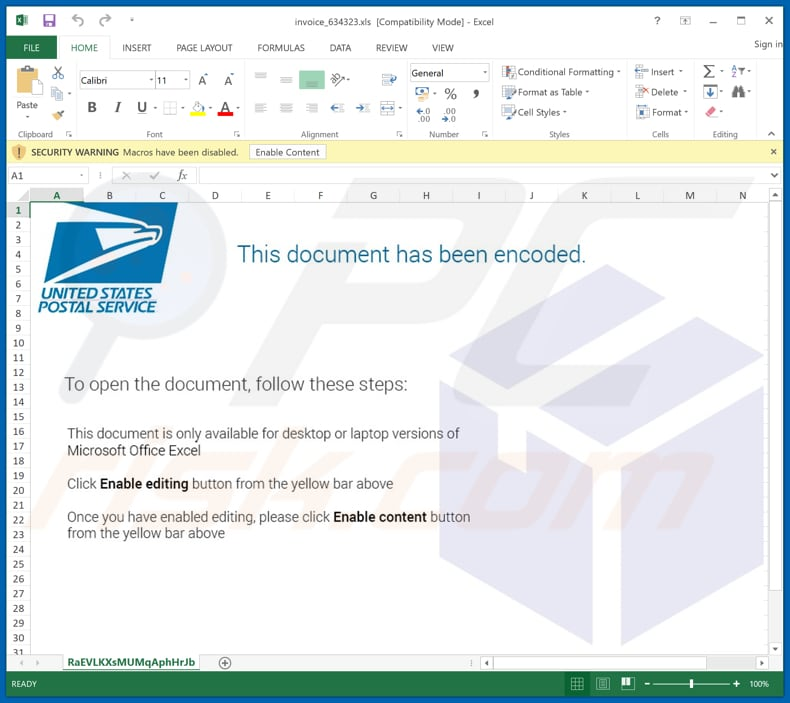 Malicious attachment distributed through USPS Email Virus spam campaign