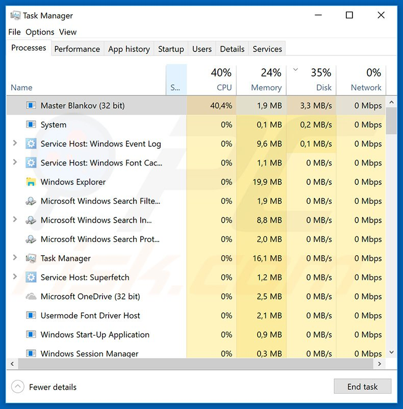 VegaLocker process in Windows Task Manager