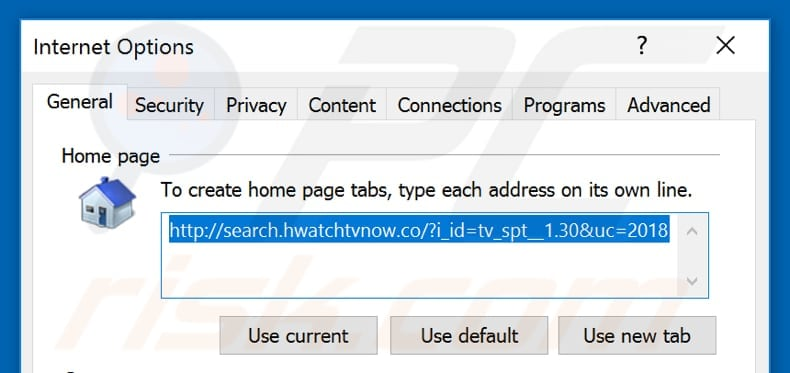 Removing search.hwatchtvnow.co from Internet Explorer homepage