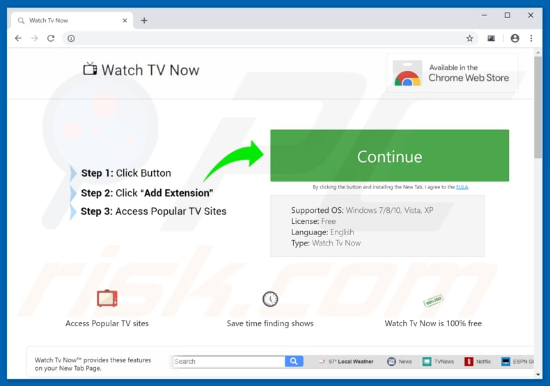 Website used to promote Watch TV Now browser hijacker
