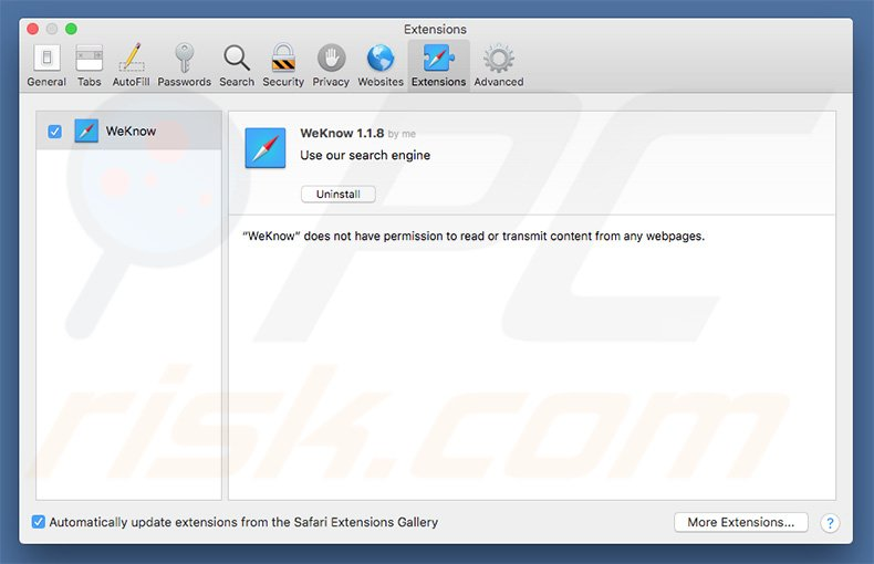 How to get rid of Weknow ac Redirect (Mac) - virus removal