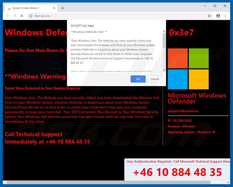 How to remove Windows Defender Alert (0x3e7) POP-UP Scam
