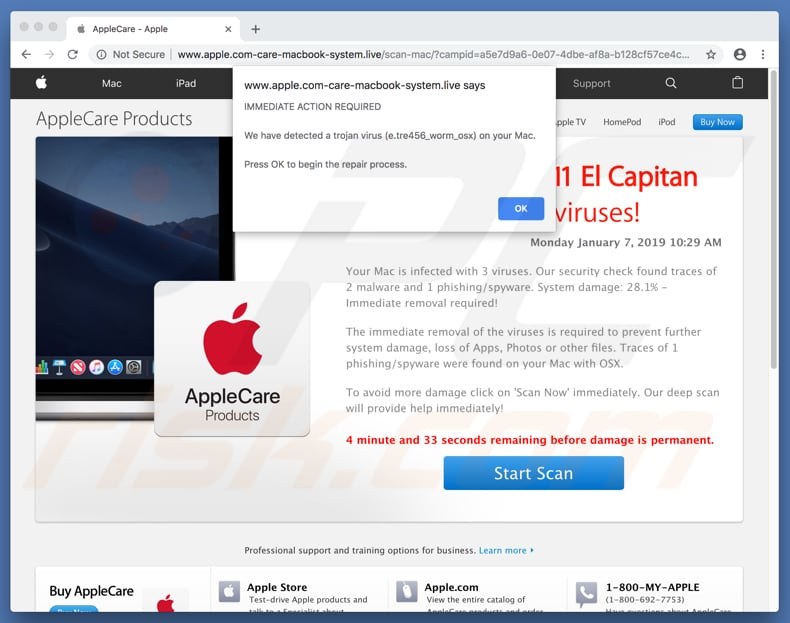 Your OSX 10.11 El Capitan Is Infected With 3 Viruses! scam