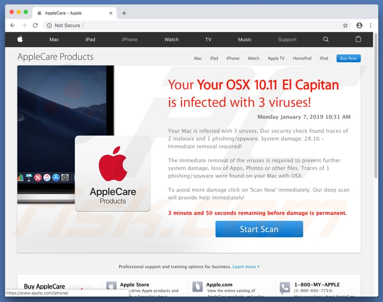 deceptive website promoting Your OSX 10.11 El Capitan Is Infected With 3 Viruses! scam