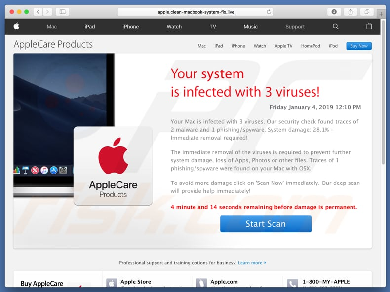 Your System Is Infected With 3 Viruses! scam