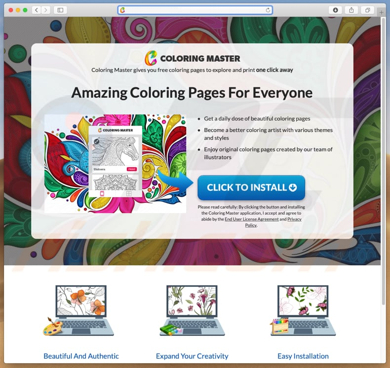 Dubious website used to promote go.coloringmaster.net