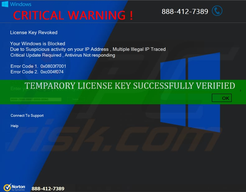 critical warning scam after entering code