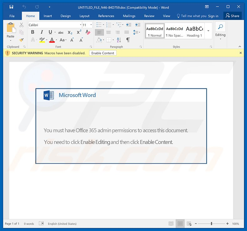 Emotet trojan distributing MS Word document