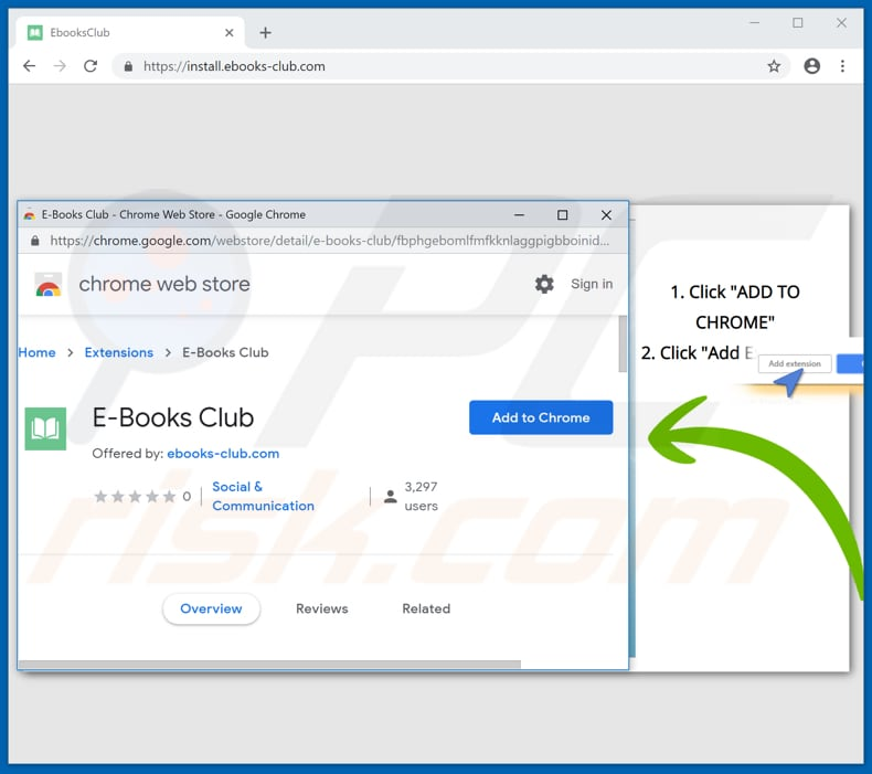 Official E-Books Club browser hijacker promoted on Google Chrome Store