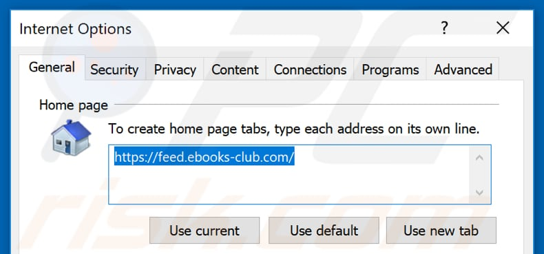 Removing feed.ebooks-club.com from Internet Explorer homepage