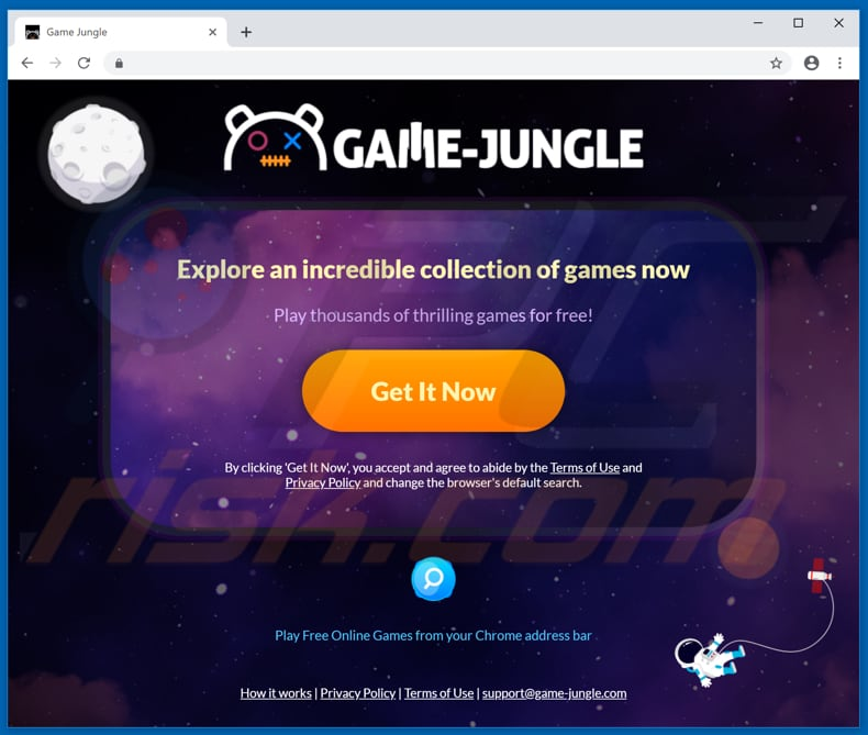 Website used to promote Game Jungle browser hijacker