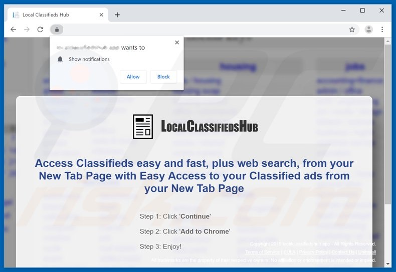 Local Classifieds Hub asking to allow browser notifications