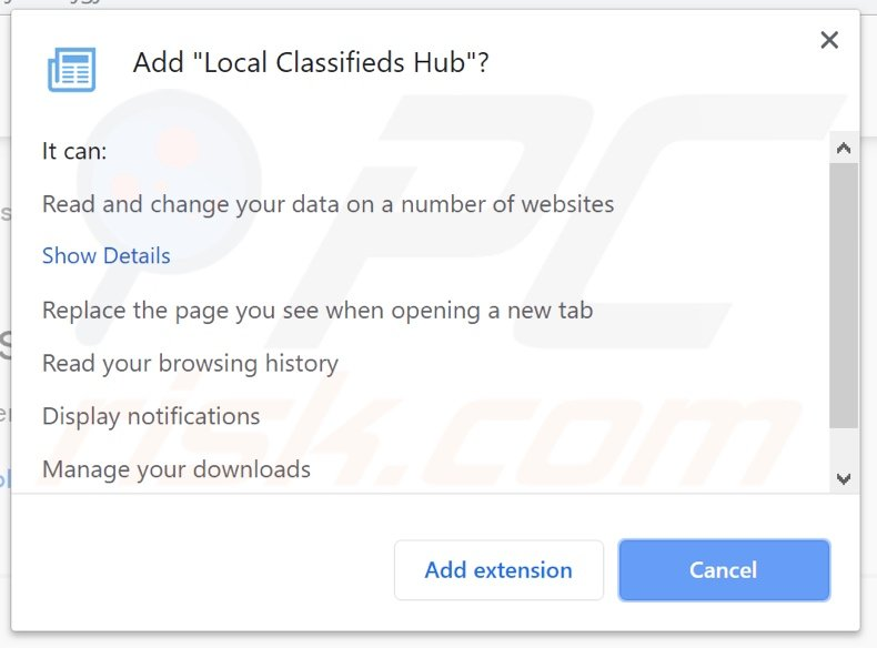 Local Classifieds Hub asking for permissions