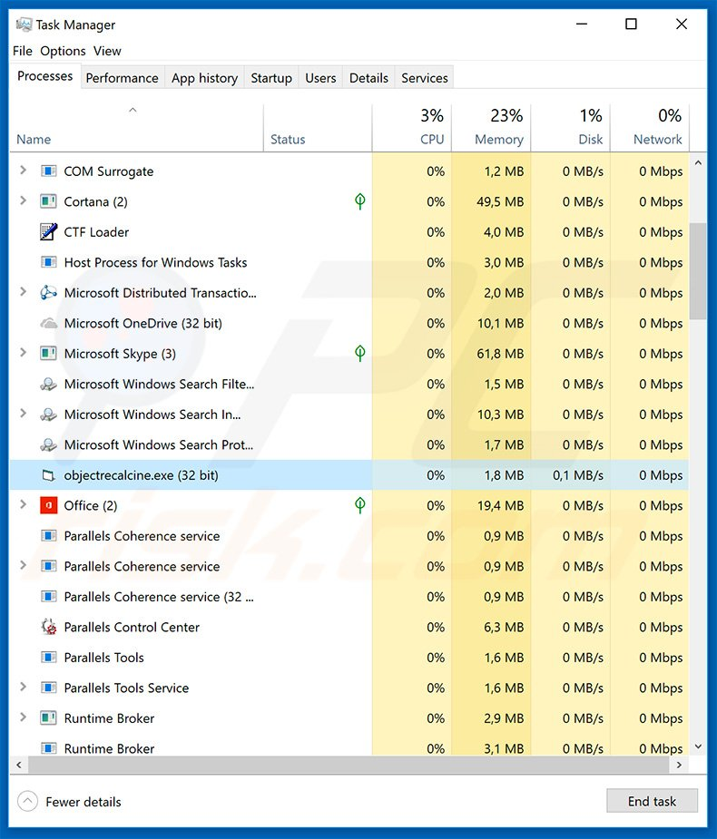 LokiBot trojan in Windows Task Manager