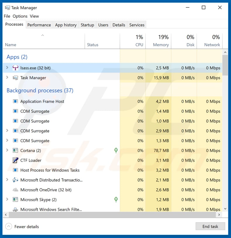 lsass.exe malicious process running in task manager