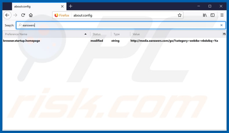 Removing eanswers.com from Mozilla Firefox default search engine