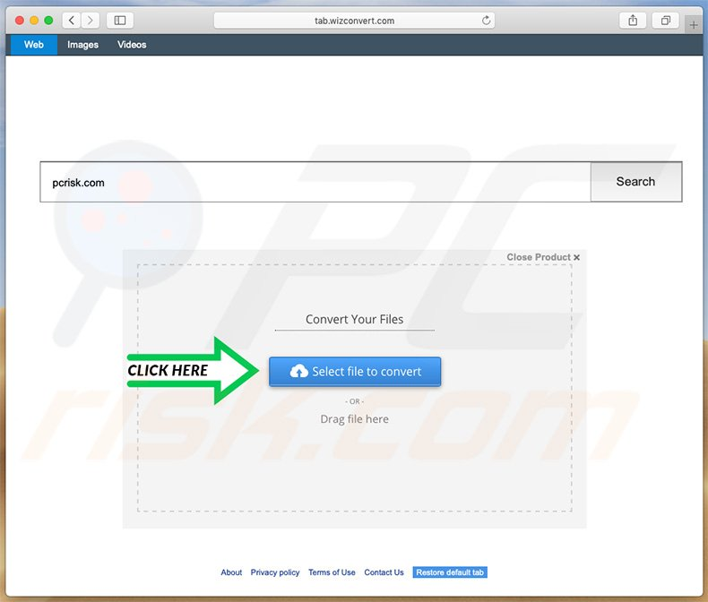 search.wizconvert.com browser hijacker on a Mac computer
