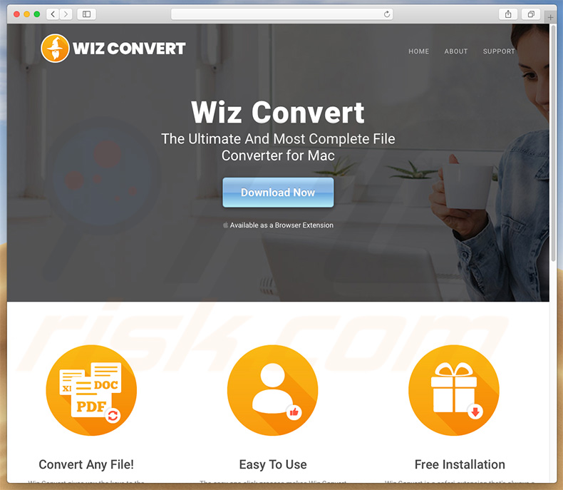Dubious website used to promote search.wizconvert.com