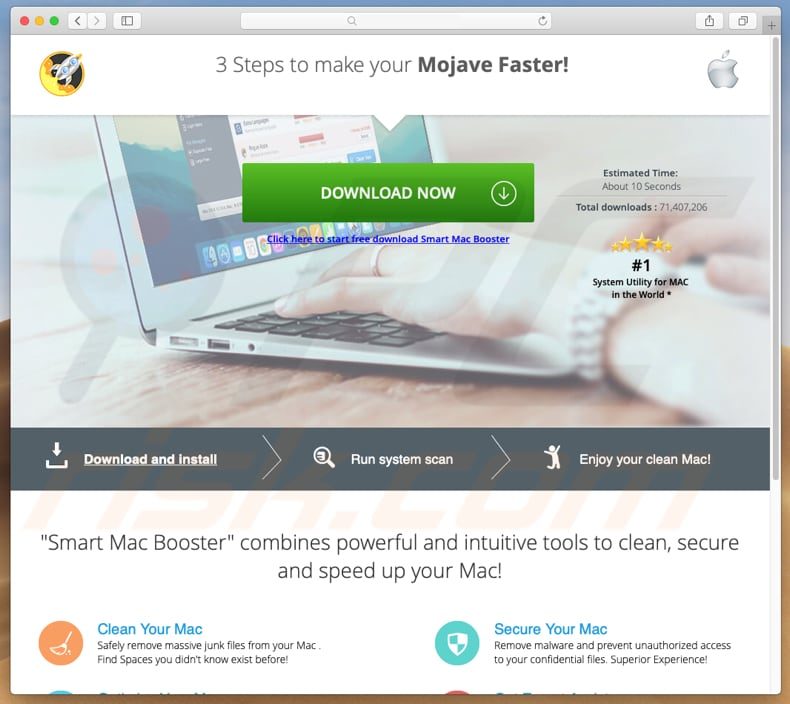 deceptive website encouraging to download smart mac booster