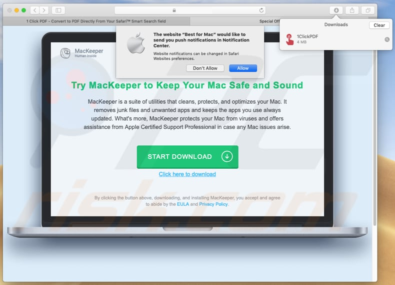 1clickpdf promotes mackeeper potentially unwanted application