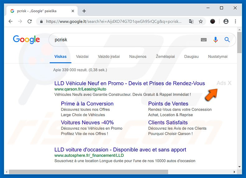 Ads X advertisements in Google search results