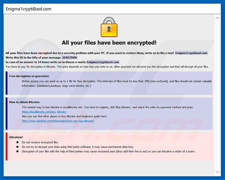 Dharma .ETH ransomware pop-up