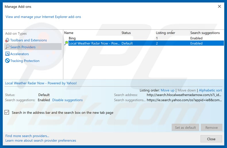 Removing hp.myway.com from Internet Explorer default search engine