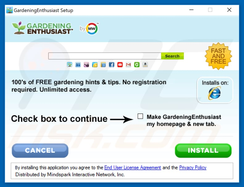 Official GardeningEnthusiast browser hijacker installation setup