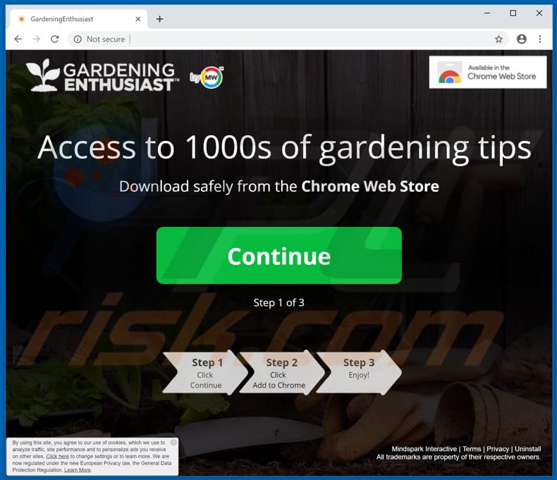 Website used to promote GardeningEnthusiast browser hijacker