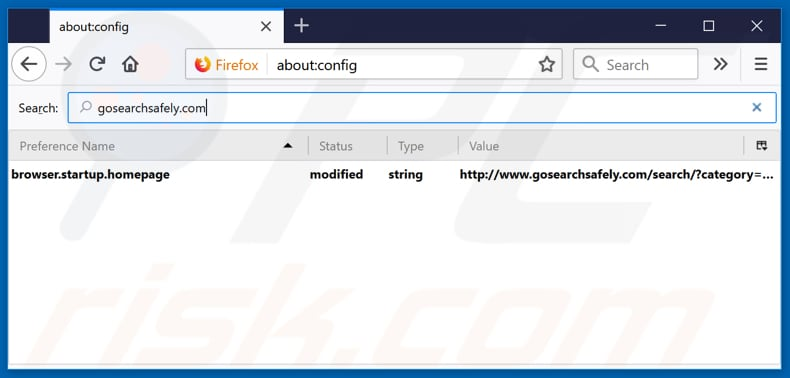 Removing gosearchsafely.com from Mozilla Firefox default search engine