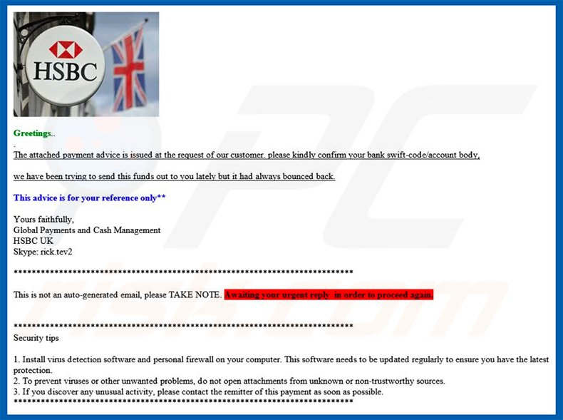 How to remove HSBC Email Virus - virus removal instructions (updated)