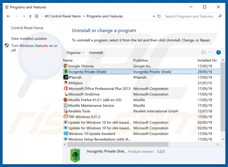 Incognito Private Shield on programs and features list