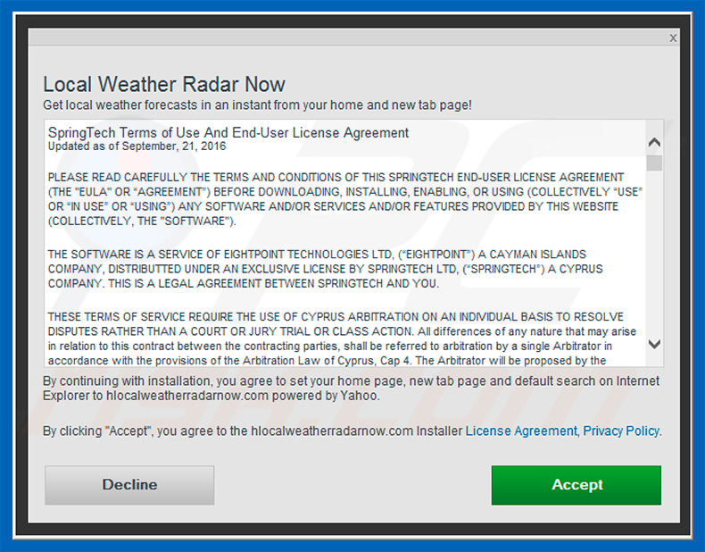 How to get rid of Local Weather Radar Now Browser Hijacker