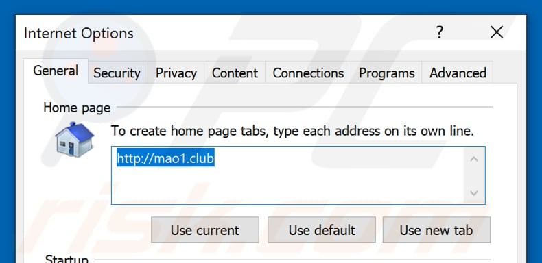 Removing mao1.club from Internet Explorer homepage