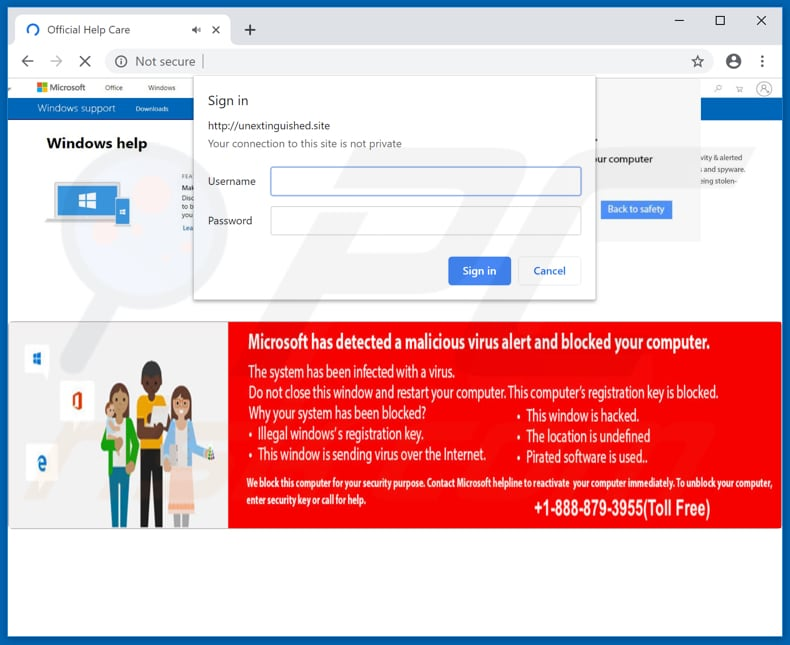 Microsoft detected malicious virus and blocked your computer opened with chrome browser