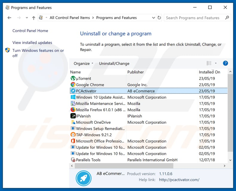 How to uninstall PCActivator Unwanted Application - removal guide