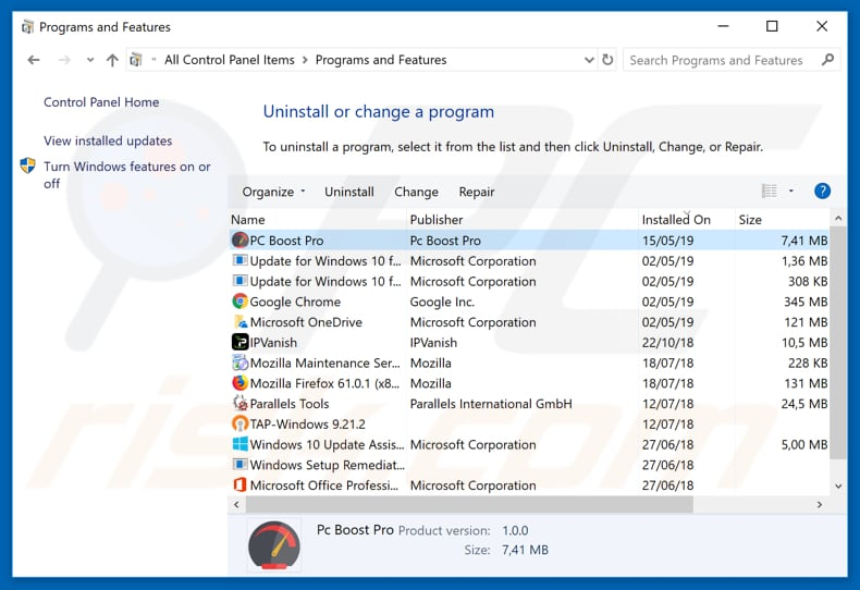 pc boost pro o the list of installed programs