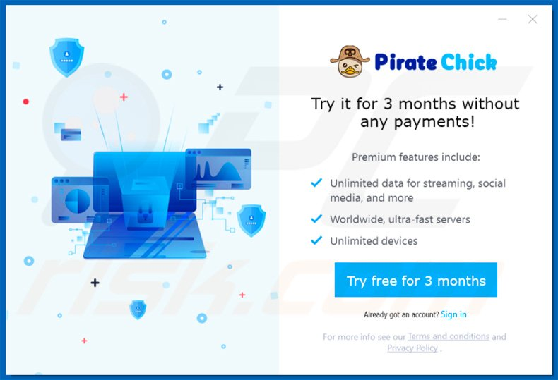 Pirate Chick VPN offering trial